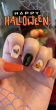 Load image into Gallery viewer, happy halloween nail art with bat and jack-o-lantern
