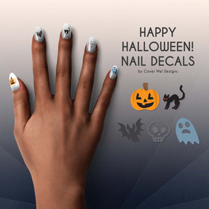 happy halloween kids nail decals with pumpkins, black cats, bats, skulls, and ghosts