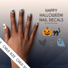 Load image into Gallery viewer, happy halloween nail decals with pumpkins, black cats, bats, skulls, and ghosts