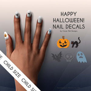 happy halloween nail decals with pumpkins, black cats, bats, skulls, and ghosts