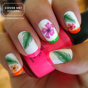 Hibiscus flowers and palm leaf nail art with neon pink, oange and green french tips
