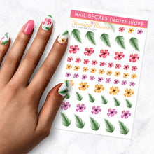 Load image into Gallery viewer, hawaiian flower nail art decal sheet