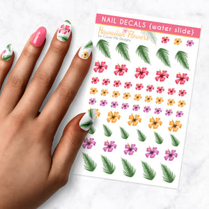 hawaiian flower nail art decal sheet