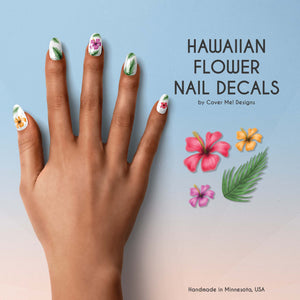 hawaiian flower nail decals with hibiscus flowers and palm leaves