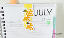 Load image into Gallery viewer, honey bee with honeycomb magnetic bookmark on planner