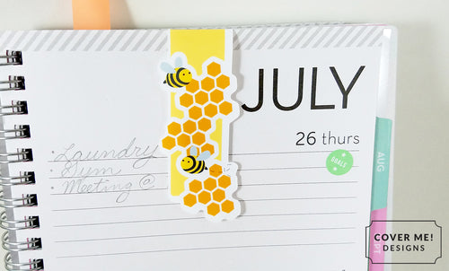 honey bee with honeycomb magnetic bookmark on planner