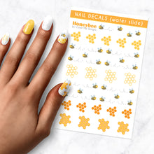 Load image into Gallery viewer, honey bee honey comb nail art decal sheet