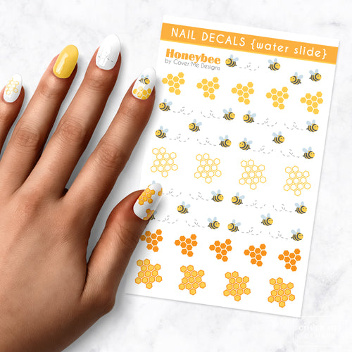 honey bee honey comb nail art decal sheet