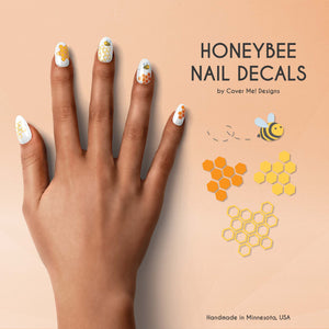 honey bee nail decals with flying bee and honeycombs