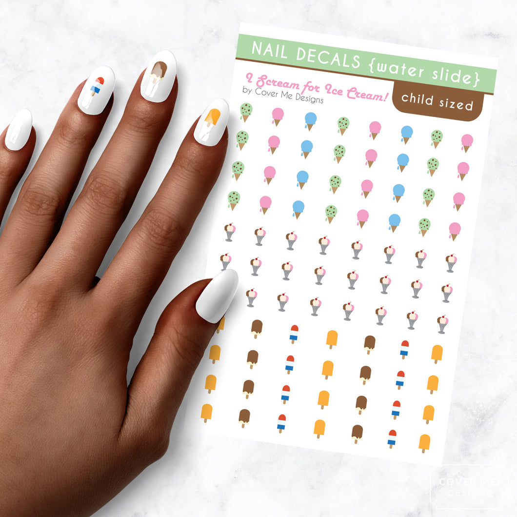 i scream for ice cream kids nail art decal sheet