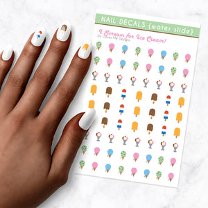 i scream for ice cream nail art decal sheet
