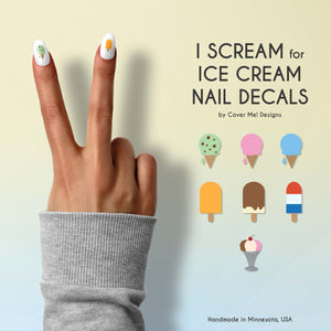 i scream for ice cream nail decals with ice cream cones, popsicles, and sundaes