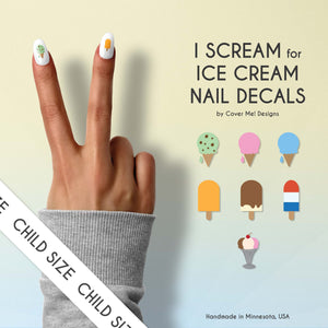 i scream for ice cream kid nail decals with ice cream cones, popsicles, and sundaes