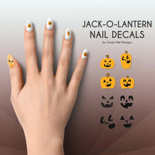 Load image into Gallery viewer, jack o lantern halloween pumpkin nail decals