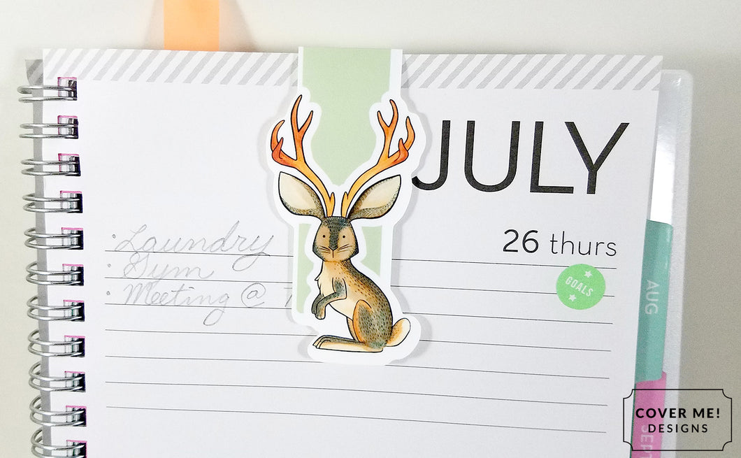 jackolope cute cryptid animal magnetic bookmark on planner