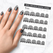 Load image into Gallery viewer, lacy black lace nail art decal sheet