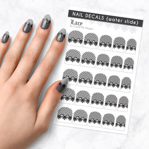 lacy black lace nail art decal sheet