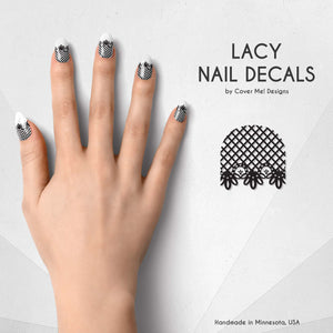 black lace gothic nail decals