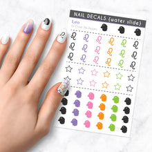 Load image into Gallery viewer, leo zodiac nail art decal sheet