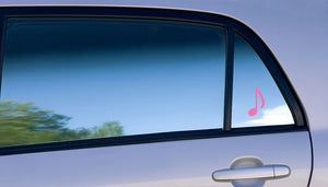 music note vinyl decal on car window