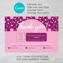 Load image into Gallery viewer, Canva template of a pink flower theme thank you card for small businesses