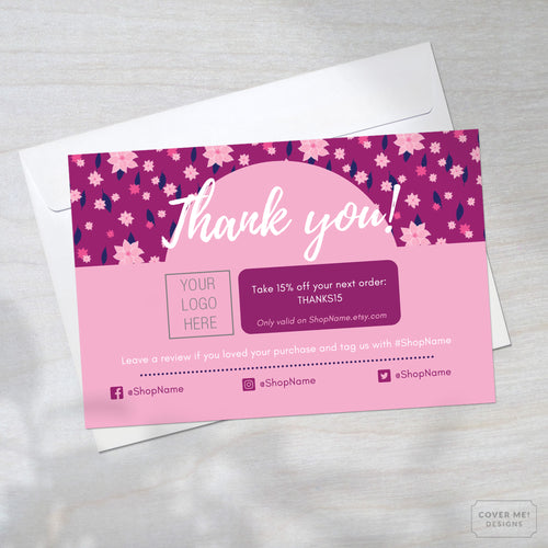 Template of a pink flower thank you card for small business