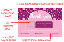 Load image into Gallery viewer, Explanation of editable elements on the magenta flower thank you card Canva template