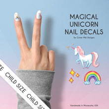 Load image into Gallery viewer, magical unicorn kid nail decals with rainbows and sparkles