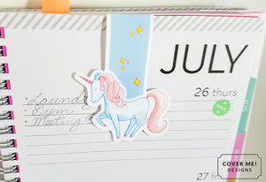 magical unicorn pastel cute magnetic bookmark on planner