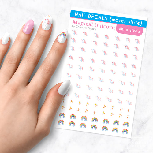 magical unicorn kids nail art decal sheet