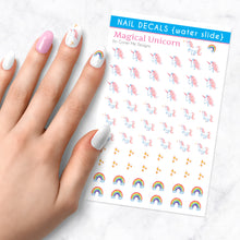Load image into Gallery viewer, magical unicorn nail art decal sheet