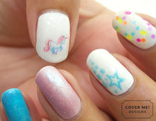 Load image into Gallery viewer, cute pink and blue pastel unicorn nail art
