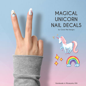 magical unicorn nail decals with rainbows and sparkles