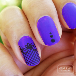 black lace purple gothic nail art
