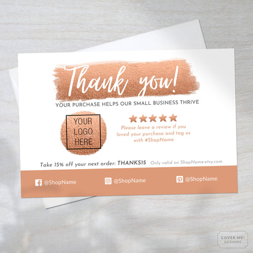 Template of a metallic copper thank you card for small business