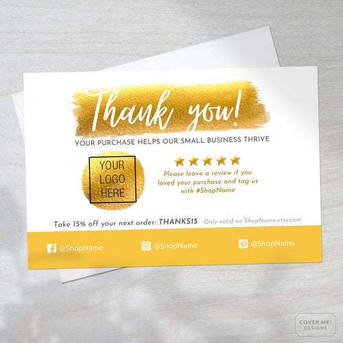 Template of a metallic gold thank you card for small business