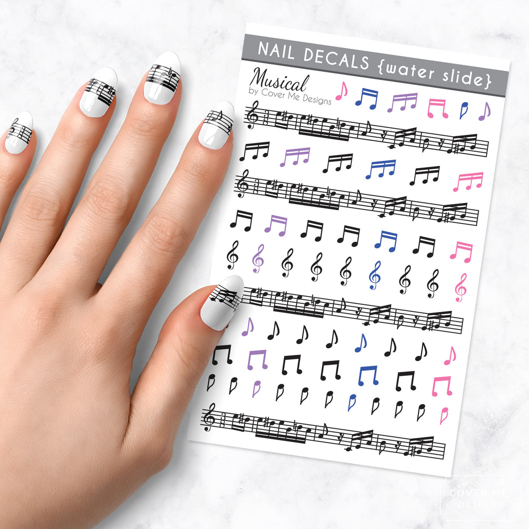musical music note nail art decal sheet