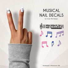 Load image into Gallery viewer, musical nail decals with music notes