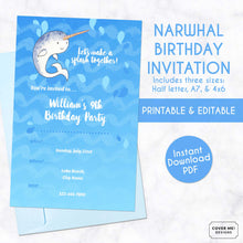 Load image into Gallery viewer, narwhal kids birthday invitation printable and editable digital download