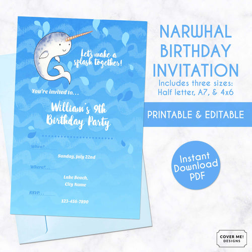 narwhal kids birthday invitation printable and editable digital download