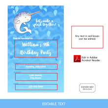 Load image into Gallery viewer, narwhal kids birthday invitation printable and editable text digital download