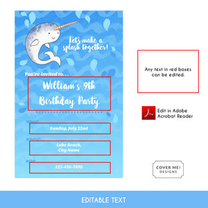 narwhal kids birthday invitation printable and editable text digital download