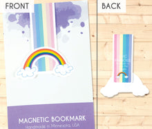 Load image into Gallery viewer, rainbow with clouds magnetic bookmark front and back