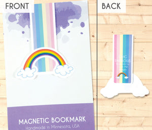 rainbow with clouds magnetic bookmark front and back