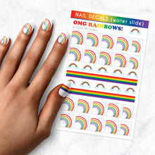 Load image into Gallery viewer, omg rainbows pride nail art decal sheet