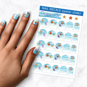 oceanside beach nail art decal sheet