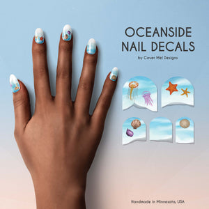 oceanside nail decals with water shore, jellyfish, starfish, and seashells
