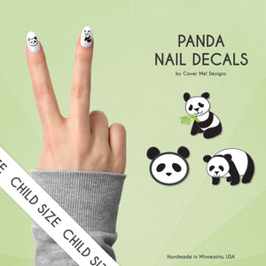 panda cute kid nail decals