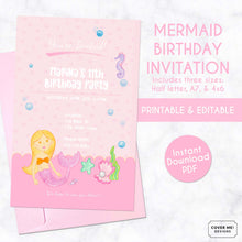 Load image into Gallery viewer, pink mermaid kids birthday invitation printable and editable digital download