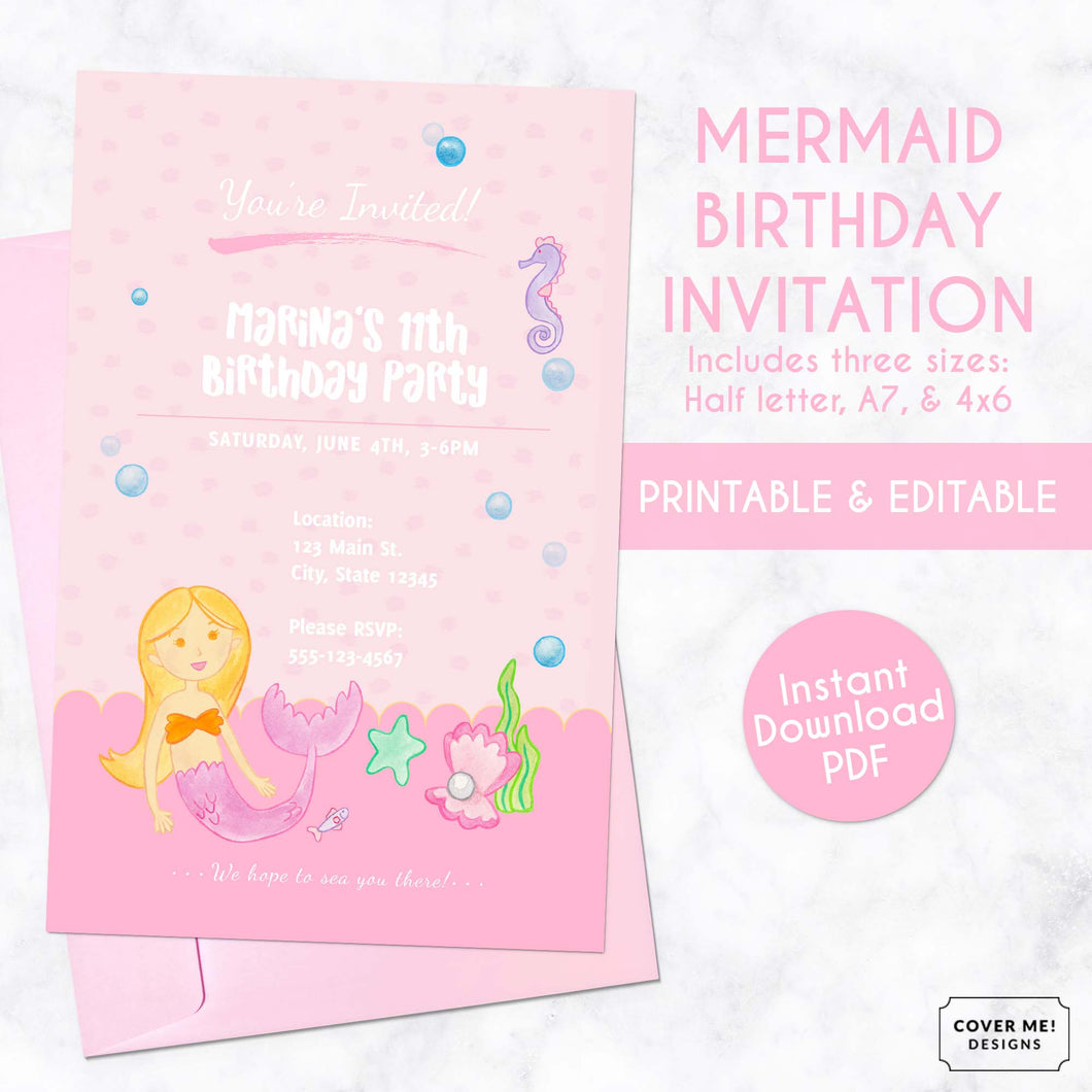 pink mermaid kids birthday invitation printable and editable digital download